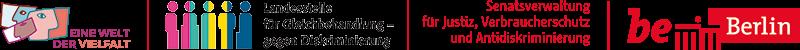 Logos von 'Eine Welt der Vielfalt', 'Landesstelle für Gleichbehandlung' und 'Senatsverwaltung für Justiz, Verbraucherschutz und Antidiskriminierung